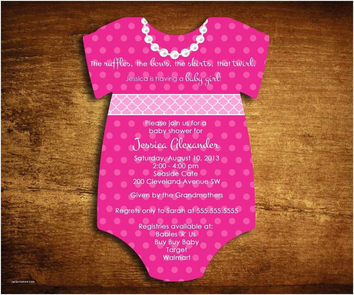 Onesie Baby Shower Invitations Set Of 65 Esie Die Cut Baby Girl Shower Invitations Hot