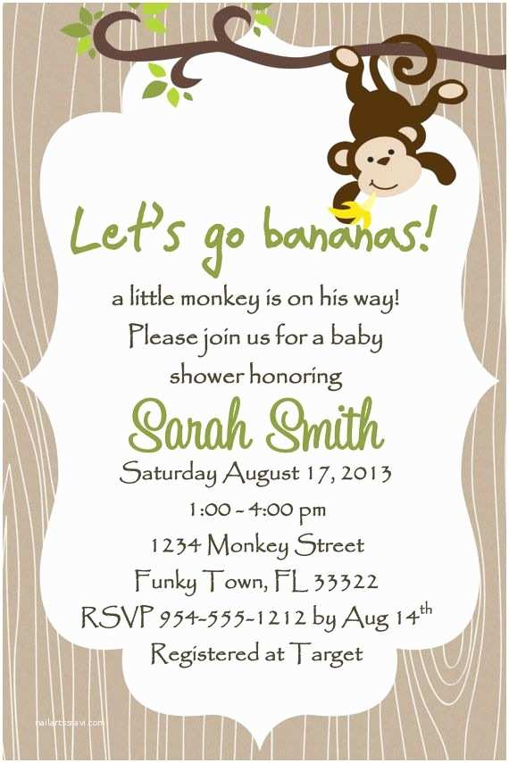 Online Baby Shower Invitations Monkey Baby Shower Invitations Templates Free