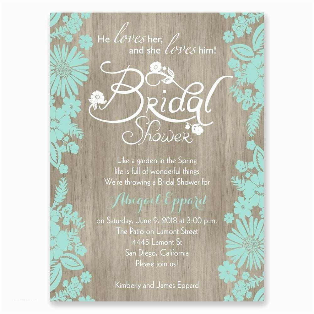 Online Bridal Shower Invitations Flowers and Woodgrain Petite Bridal Shower Invitation