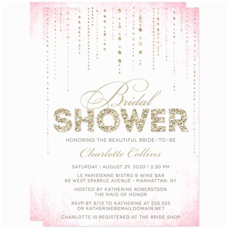 bridal shower invitations gold and pink