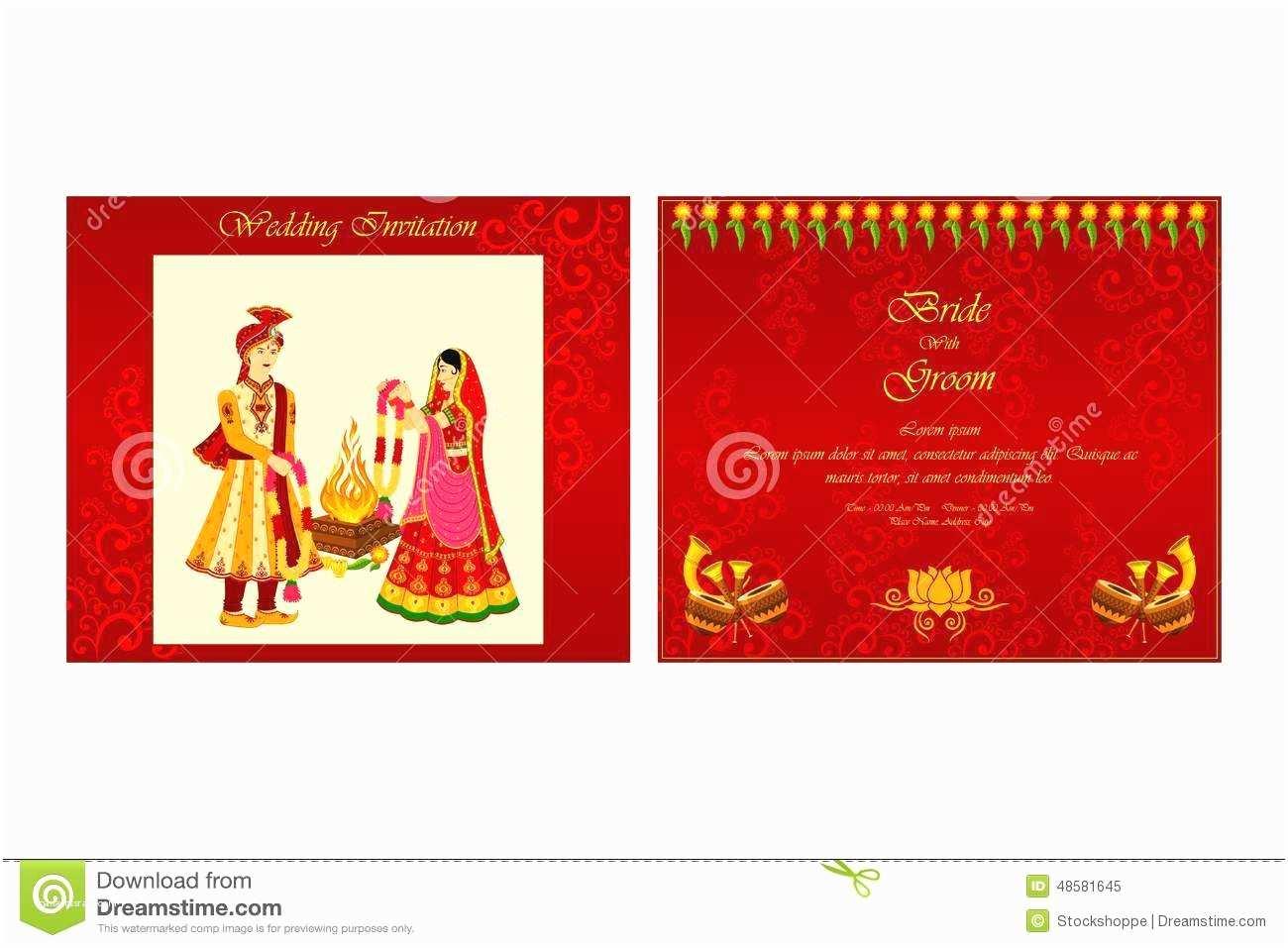 Online Editable Wedding Invitation Cards Free Download Indian Wedding Invitation Card Stock Vector