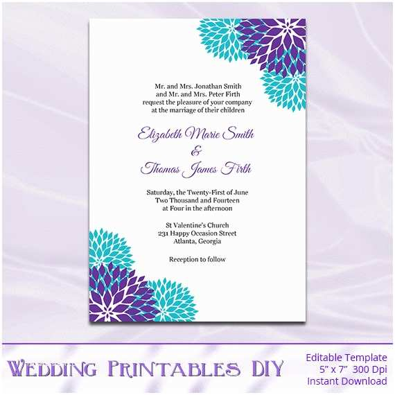 Online Editable Wedding Invitation Cards Free Download Purple Teal Wedding Invitation Template Diy Garden Floral