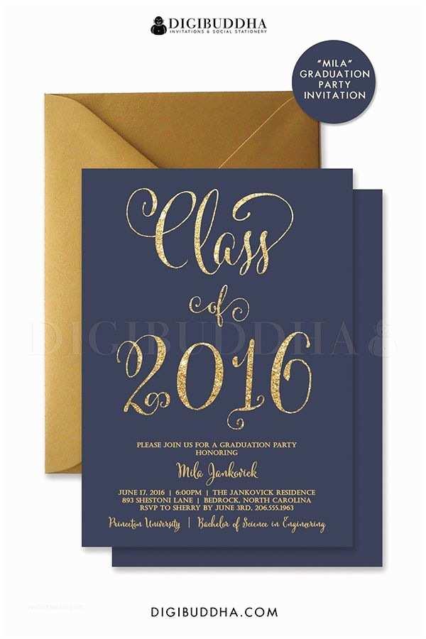 Online Graduation Invitations Graduation Party Invitation Navy and Gold Glitter Invite
