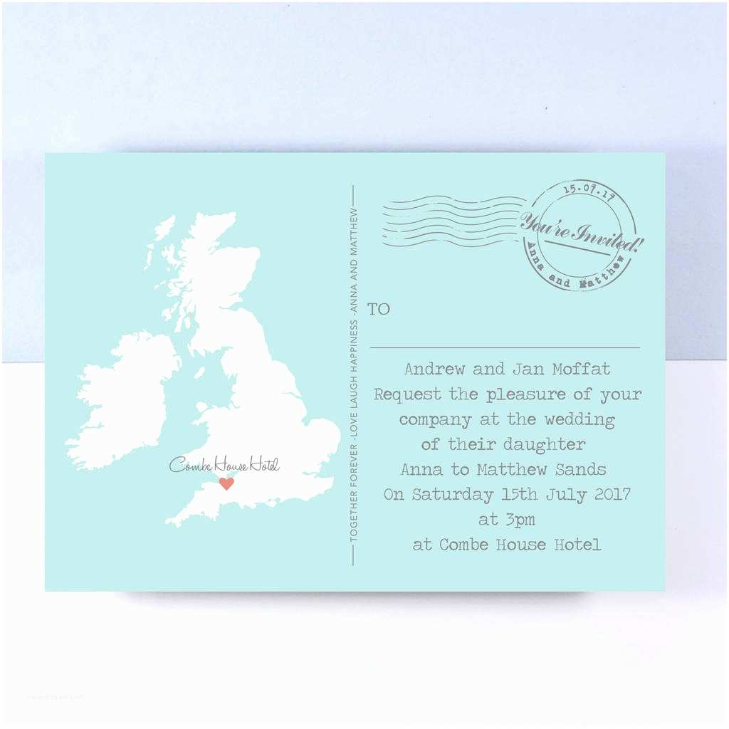 Online Wedding Invitations Uk Uk Map Wedding Invitation by Paper and Inc