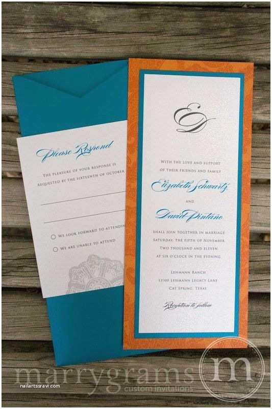 Orange Wedding Invitations Navy Blue And Orange Wedding Invitations