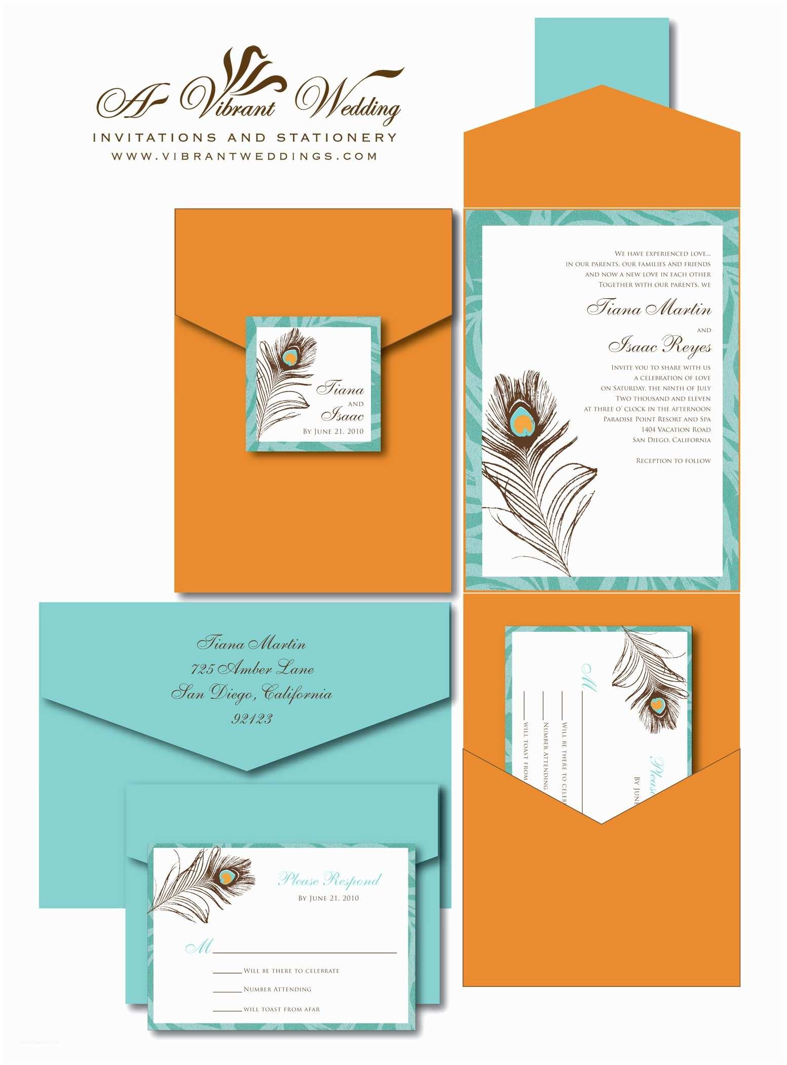 Orange Wedding Invitations Burnt orange & Turquoise Wedding Invitation with Peacock