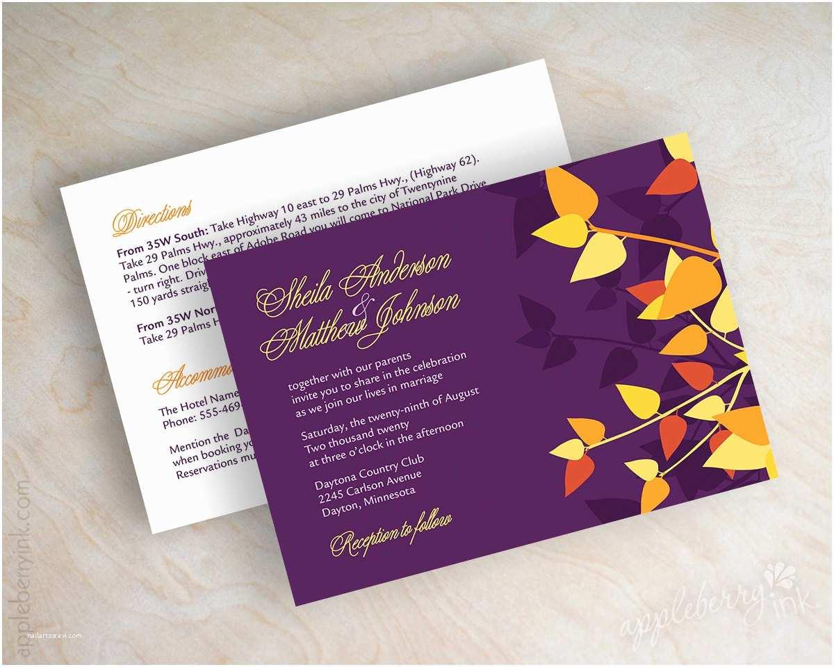 orange and purple wedding invitation