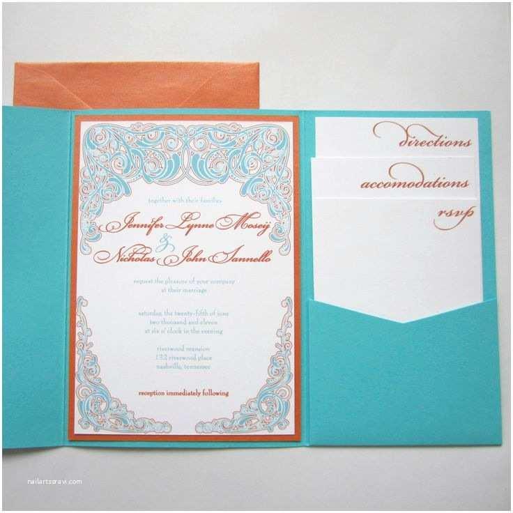 Orange Wedding Invitations Elegant Modern Teal and orange Pocketfold Wedding by