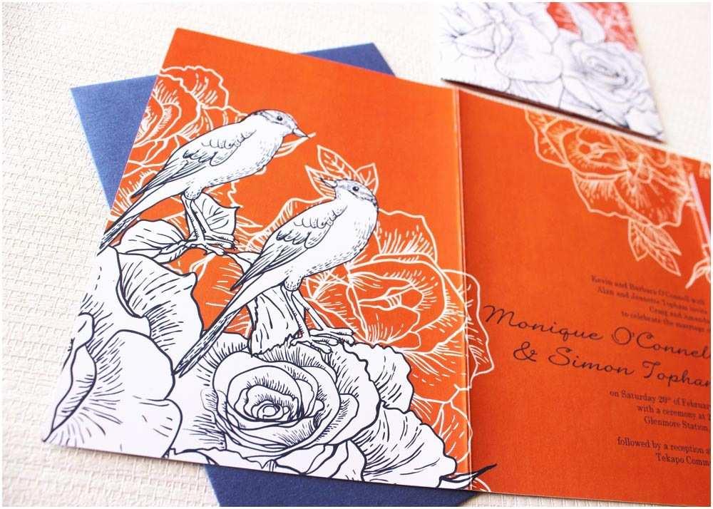 Orange Wedding Invitations Gorgeous Navy Blue and orange Wedding Invitation Be My Guest