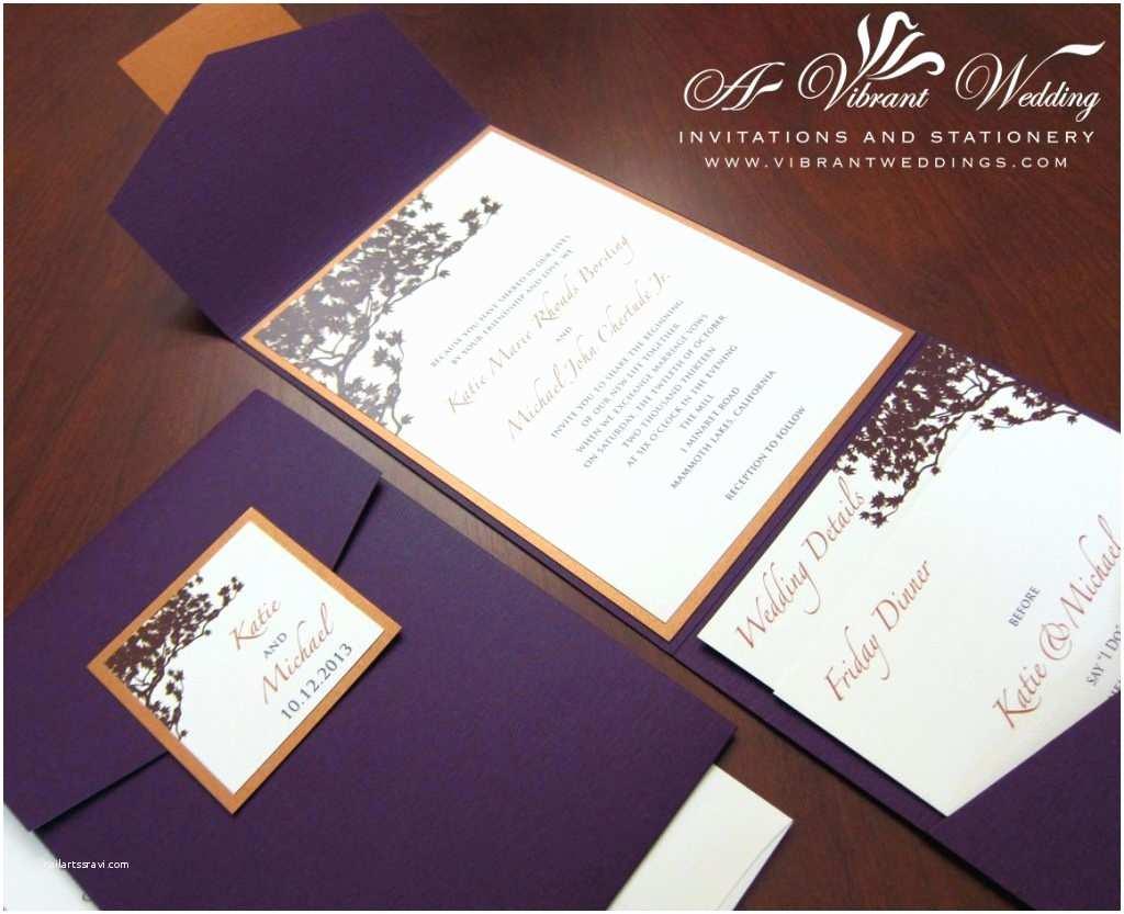 Orange Wedding Invitations orange and Purple Wedding Invitation