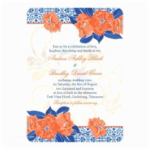 Orange Wedding Invitations orange Royal Blue Floral Wedding Invitation
