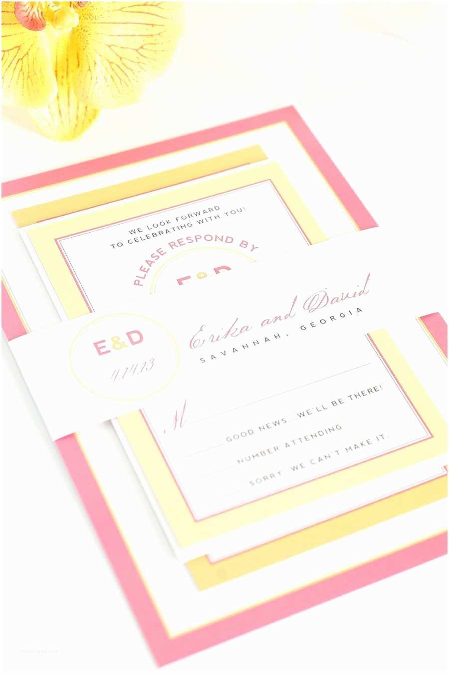 Orange Wedding Invitations Pink and orange Wedding Invitations with Yellow Accents