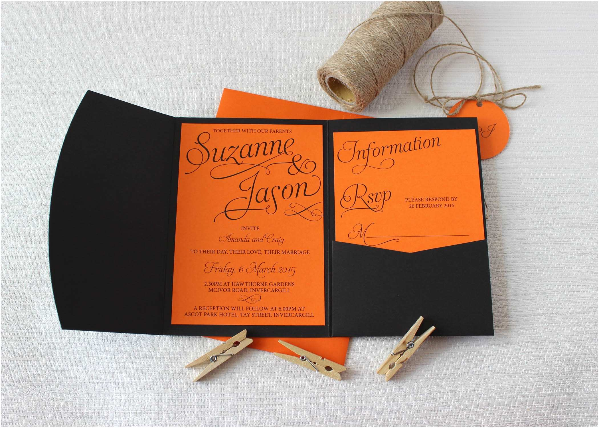 Orange Wedding Invitations Pocketfold Simple Script Wedding Invitations Be My Guest