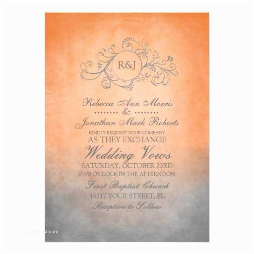Orange Wedding Invitations Rustic orange and Grey Bohemian Wedding Invitation