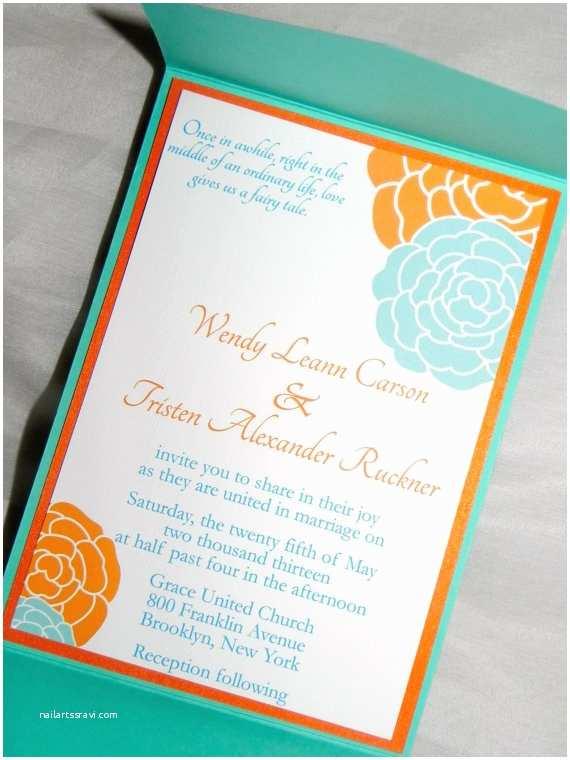 Orange Wedding Invitations Turquoise and orange Wedding Invitations