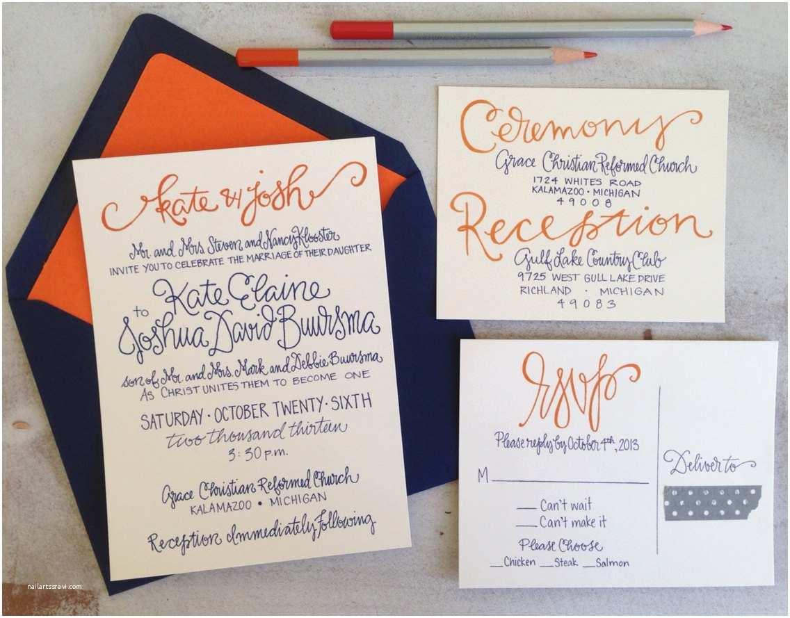 Orange Wedding Invitations Wedding Invitations Navy and orange Colorful Wedding