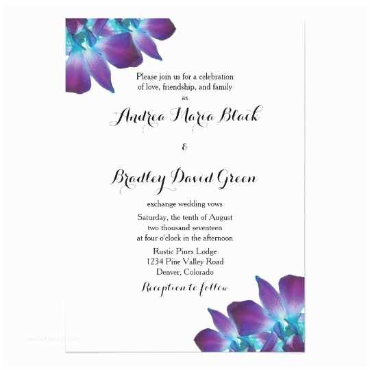 Orchid Wedding Invitations Blue Dendrobium orchid Wedding Invitation