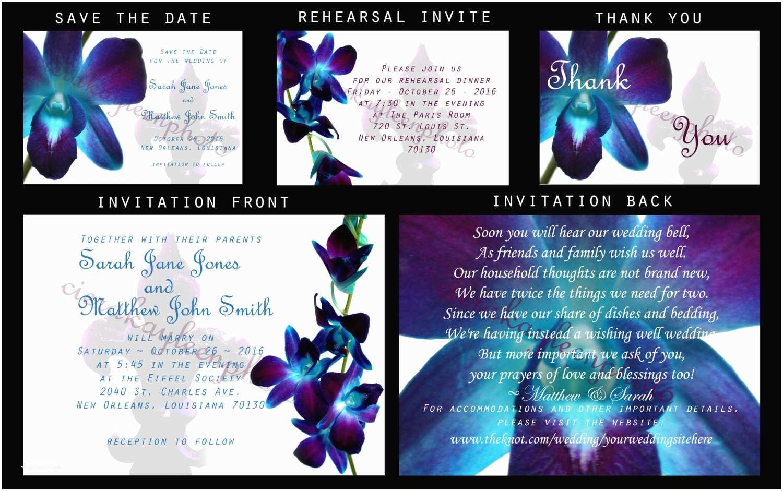 Orchid Wedding Invitations Blue Orchid Fleur De Lis Wedding Invitation Diy