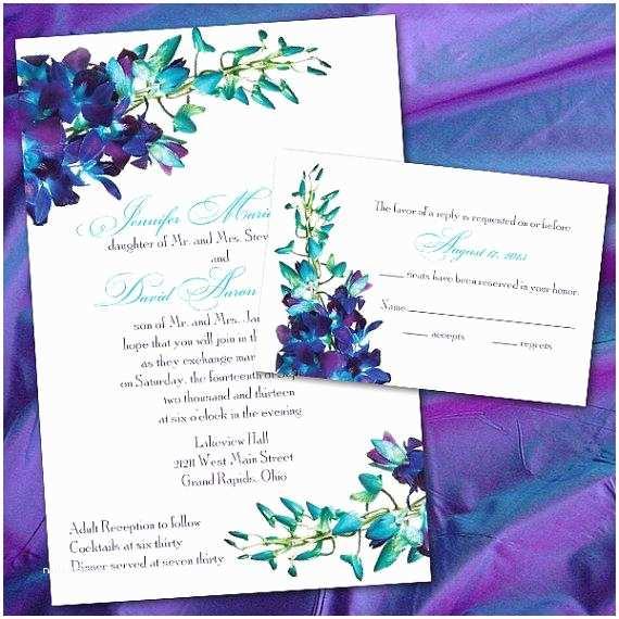 Orchid Wedding Invitations Blue Wedding Custom Blue orchid Wedding Invitations