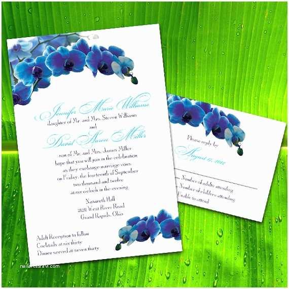 Orchid Wedding Invitations Custom Blue orchid Wedding Invitations