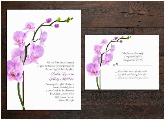 Orchid Wedding Invitations Items Similar To Orchid Wedding Invitation Set On