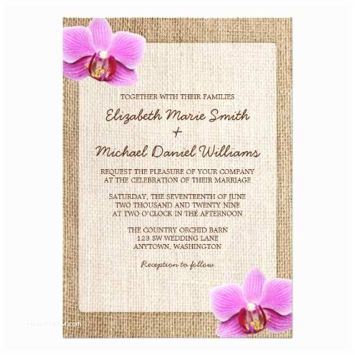 "Orchid Wedding Invitations Orchid Rustic Burlap Wedding Invitations 5"" X"