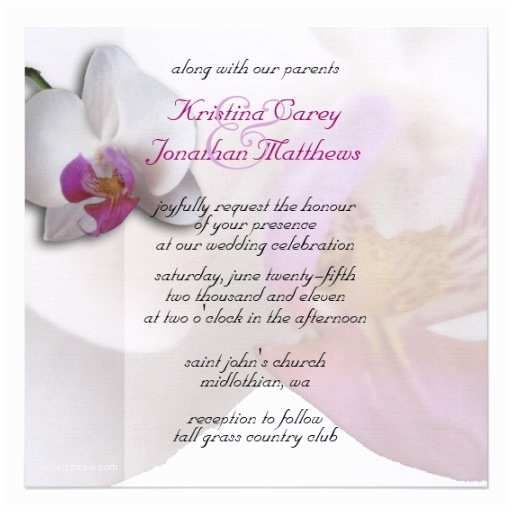 Orchid Wedding Invitations Pink orchid Wedding Invitation 5 25x5 25