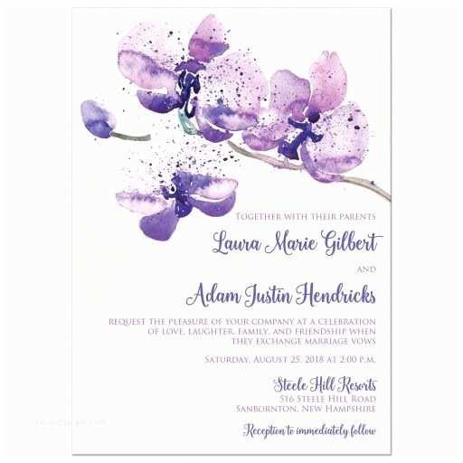 Orchid Wedding Invitations Pretty Purple Pink Watercolor orchid Wedding Invitation