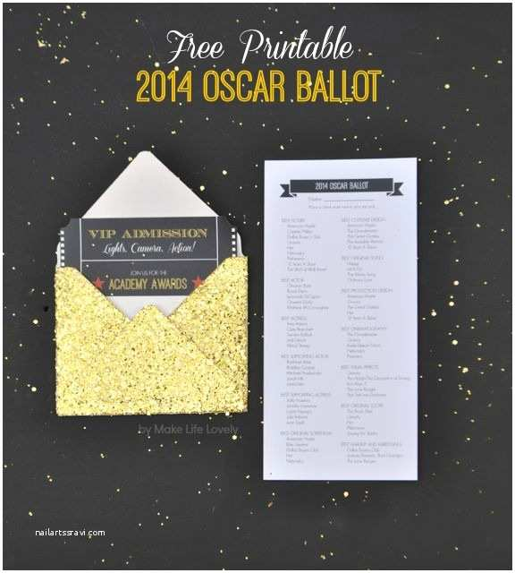 Oscar Party Invitations 2014 Printable Oscar Ballot Make Life Lovely