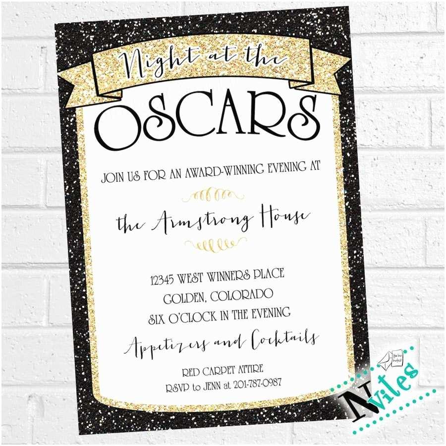 Oscar Party Invitations Oscar Party Invitation Academy Award Party Invite Movie