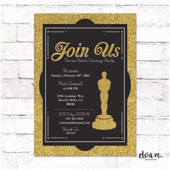Oscar Party Invitations Oscar Party Invitation Academy Awards Oscar Viewing