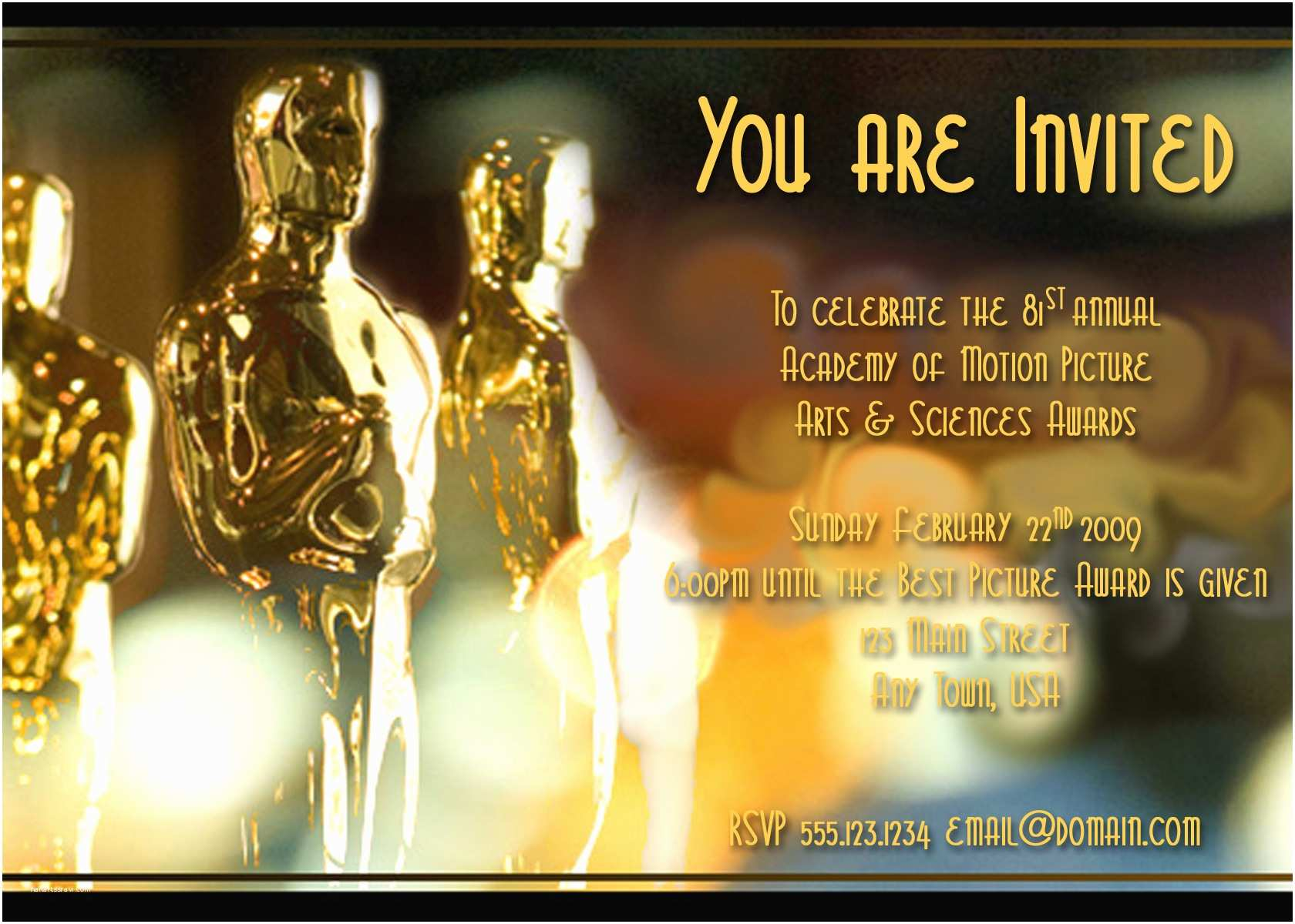Oscar Party Invitations Oscar Party Invite