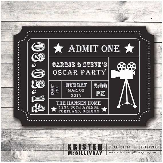 Oscar Party Invitations Oscar Party Ticket Invitation Diy Digital File Printable