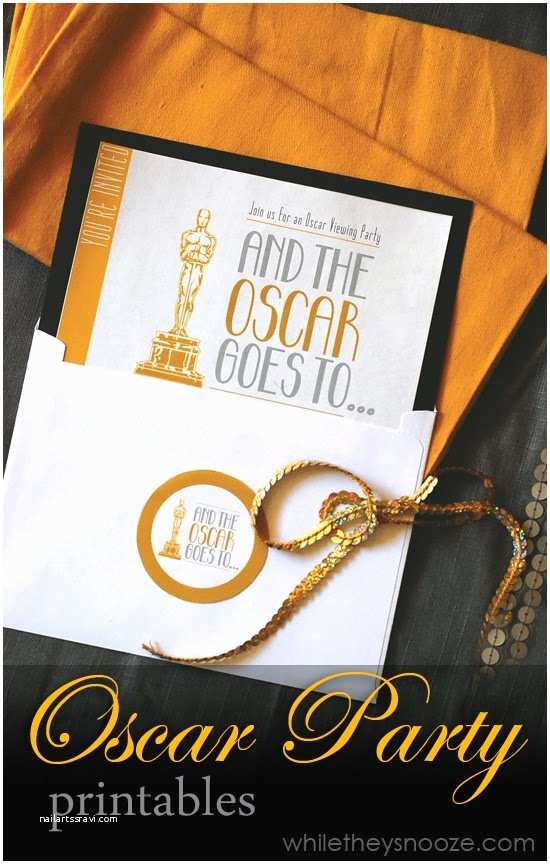 Oscar Party Invitations while they Snooze Oscar Party Printables