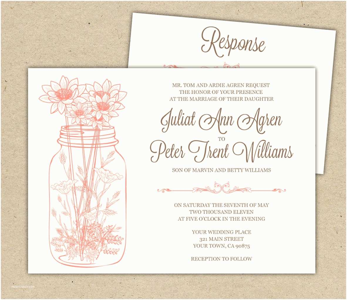 Outdoor Wedding Invitations Mason Jar Wedding Invitations and Rsvp Outdoor by Westandpine