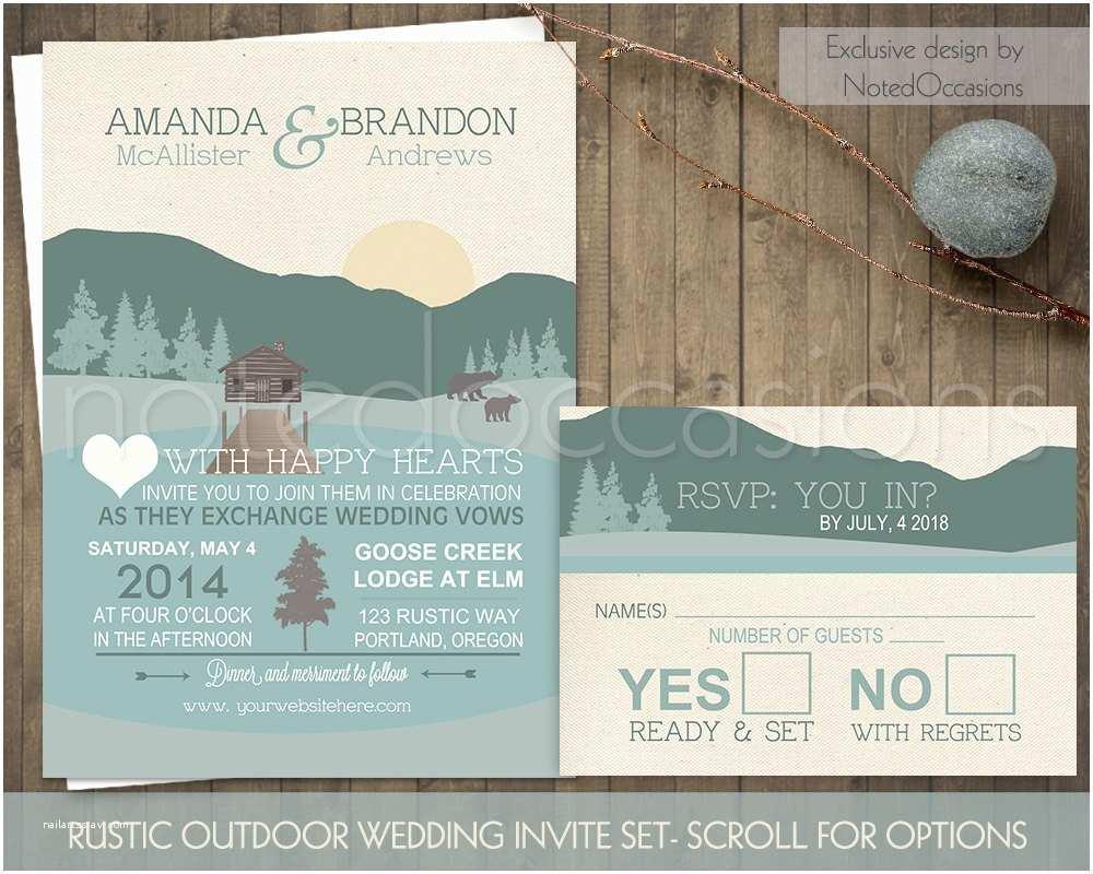 Outdoor Wedding Invitations Mountain Wedding Invitations Rustic Outdoor Wedding Log