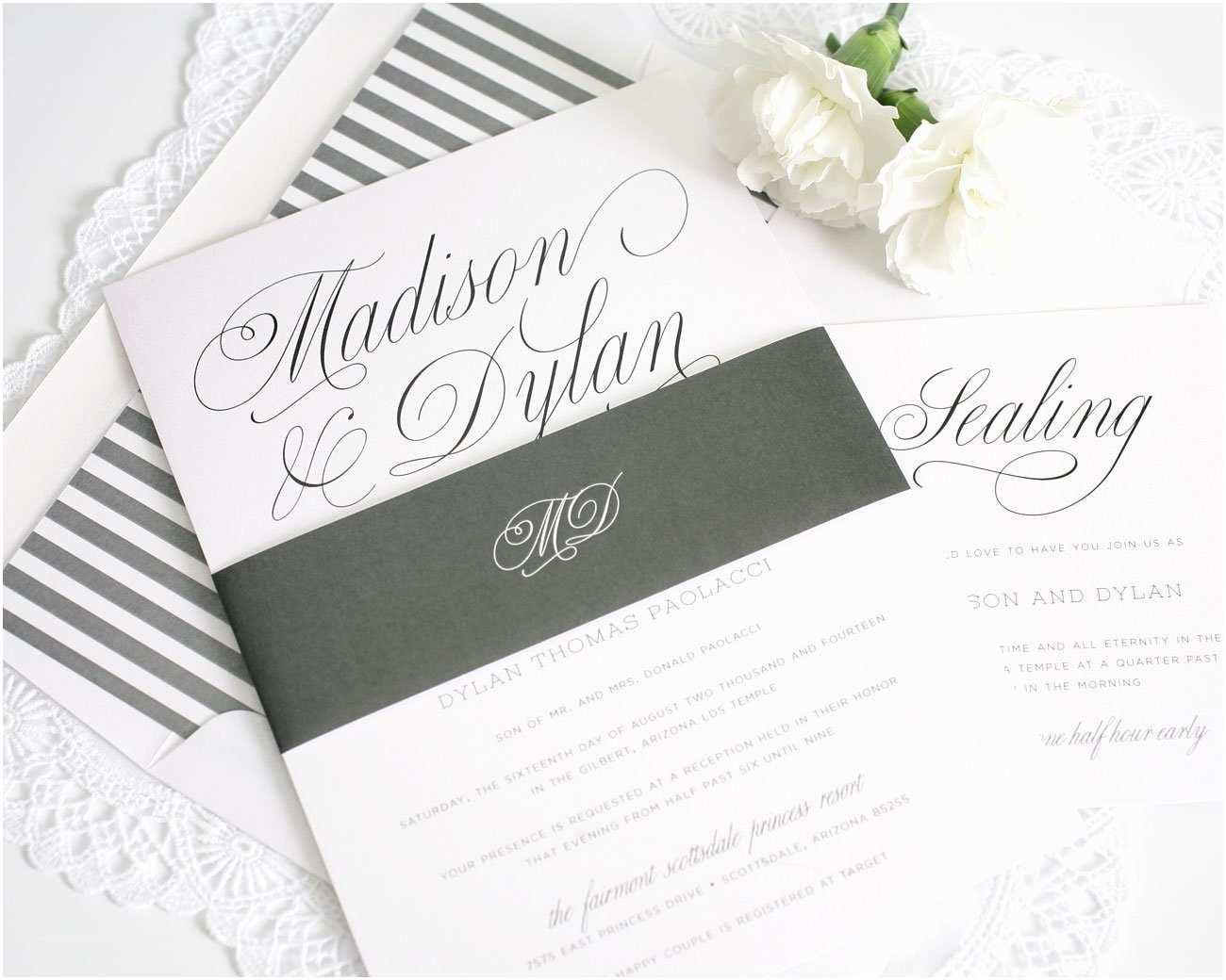 Outdoor Wedding Invitations Romantic Wedding Invitations In Charcoal