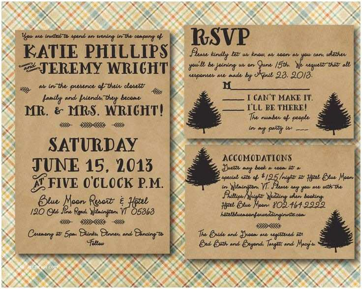 Outdoor Wedding Invitations Rustic Wedding Invitation with Rsvp Card Printed Lake