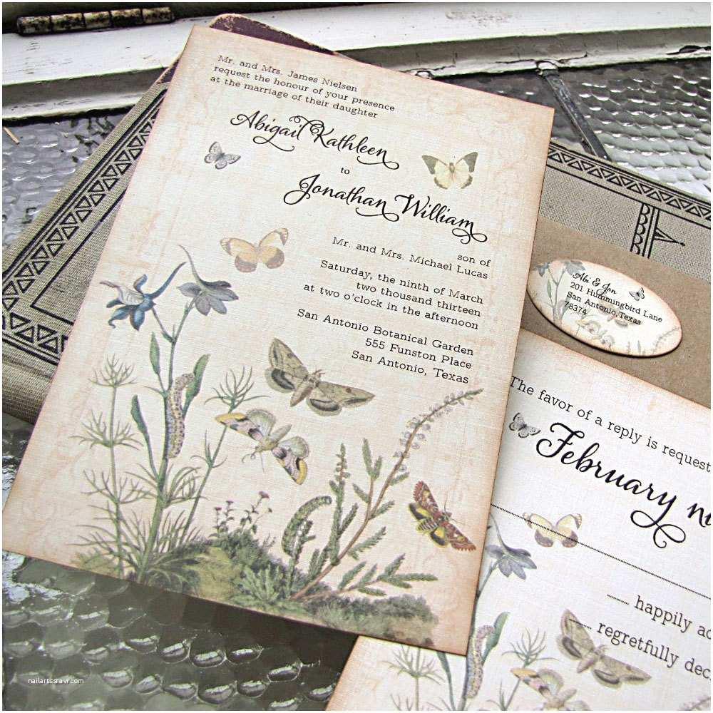 Outdoor Wedding Invitations Vintage Wedding Invitation Botanical butterflies Garden