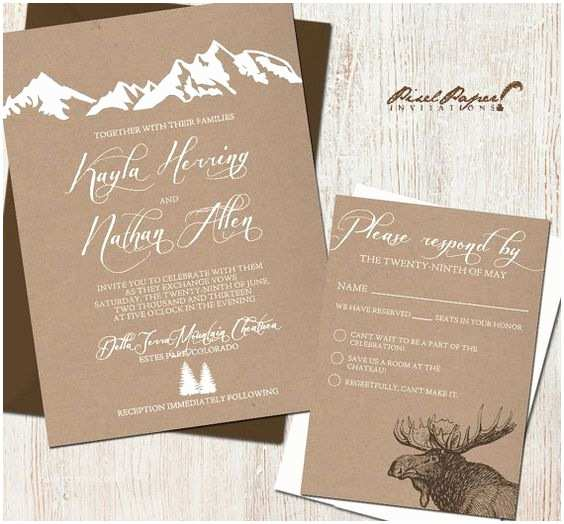 Outdoor Wedding Invitations Wedding Invitation Suite Mountains Colorado Kraft