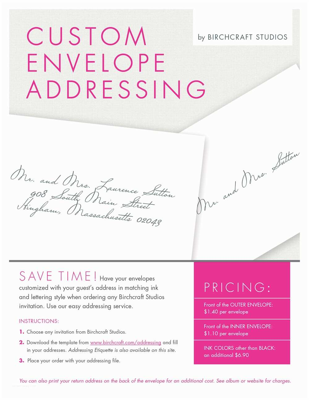 Outer Envelopes for Wedding Invitations Custom Envelope Addressing by Birchcraft Studios