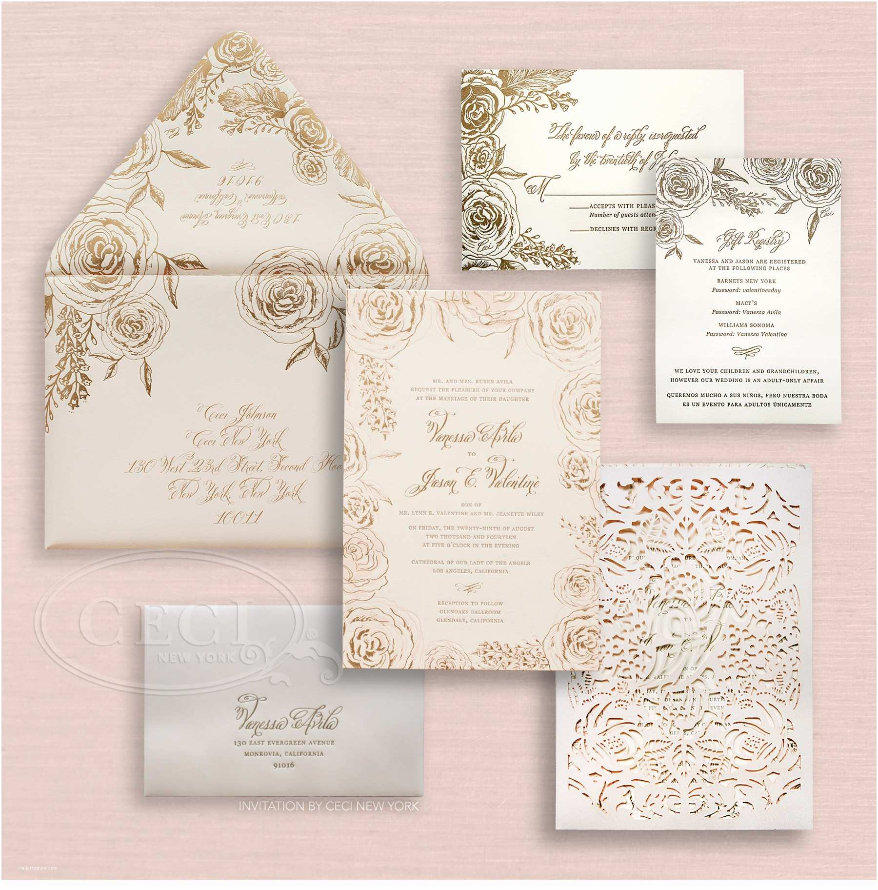Outer Envelopes for Wedding Invitations Foil Pressed Rose Print Outer Envelope Luxury Weddi