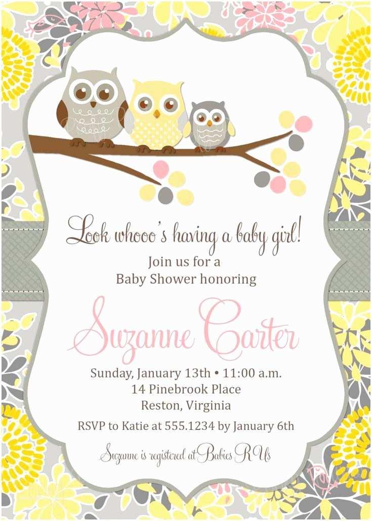 Owl Baby Girl Shower Invitations Baby Girl Owl Shower Invitation Printable Owl Baby