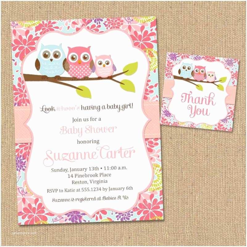 Owl Baby Girl Shower Invitations Free Printable Baby Shower Invitations for Girls