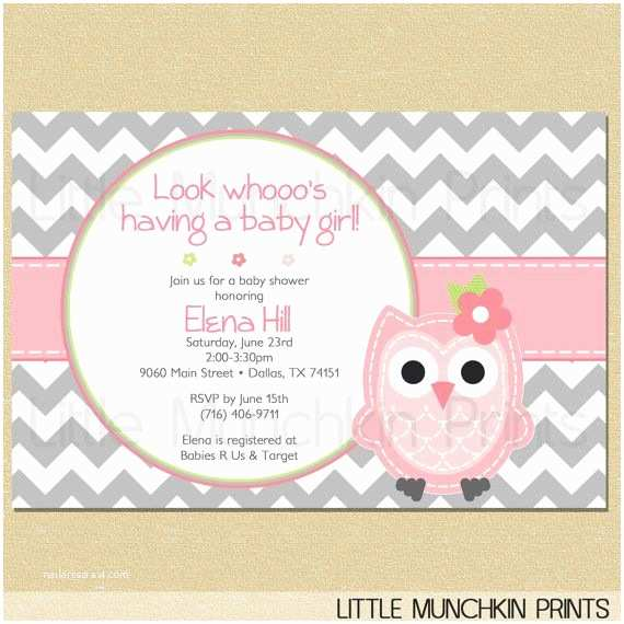Owl Baby Girl Shower Invitations Owl Baby Shower Invitation Look whoo S Having A Baby Girl