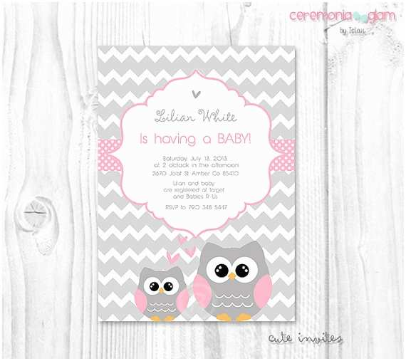 Owl Baby Girl Shower Invitations Pink Owl Baby Shower Invitation Baby Girl Owl Pink and