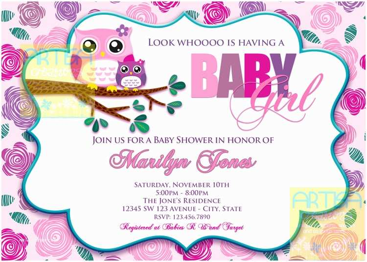 Owl Baby Shower Invitations Pink Owl Baby Shower Invitation Owl Baby Girl Shower