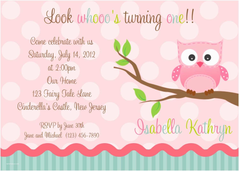 Owl Birthday Invitations First Birthday Pink Owl Invitation Personalized Custom Owl