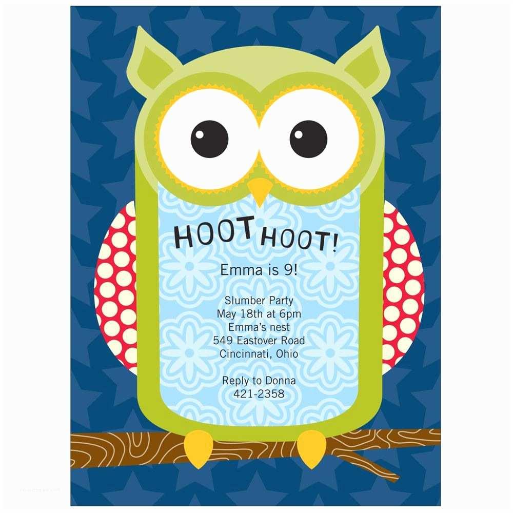 Owl Birthday Invitations Hoot the Owl Kids Birthday Invitations