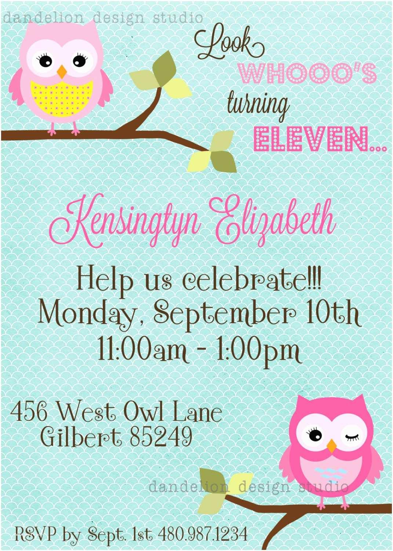Owl Birthday Invitations Printable Custom Invitation Owl Party Collection Dandelion